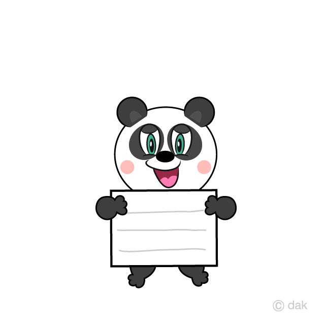 Panda with Board Cartoon