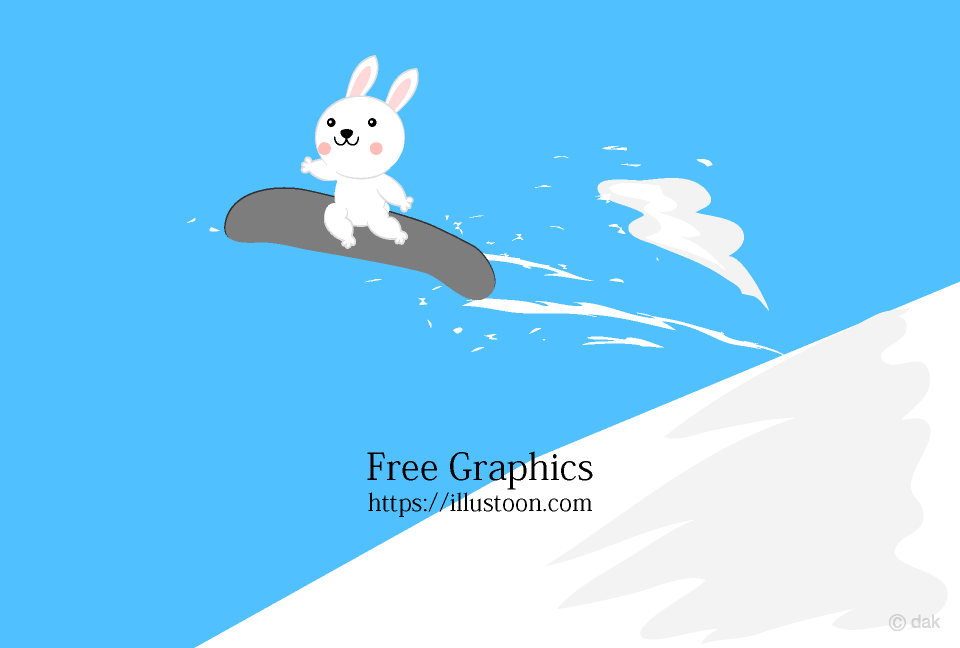 Snowboard jumping cute bunny Cartoon Pictures