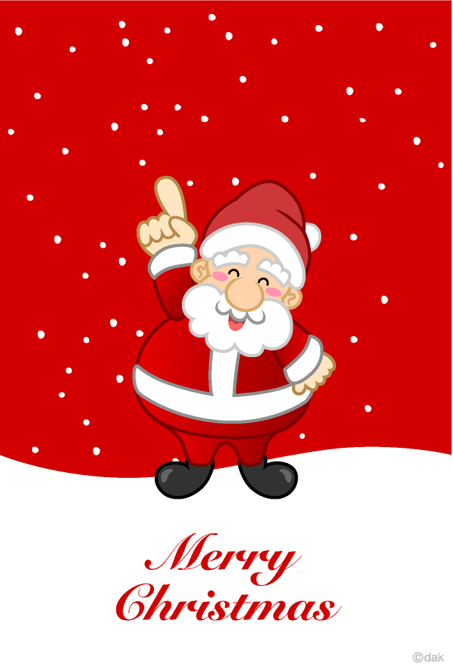 Christmas card of Santa Claus holding fingers