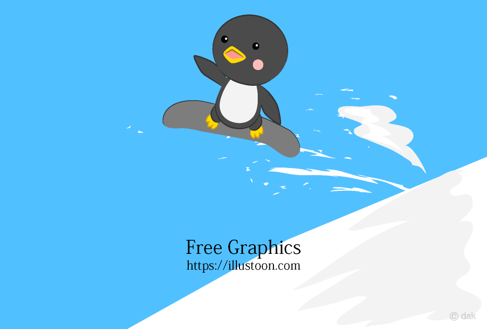 Snowboard jumping penguin Cartoon picture