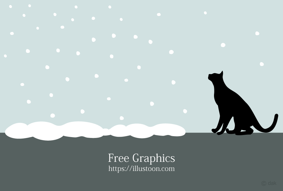 Snow and cat silhouette Graphics
