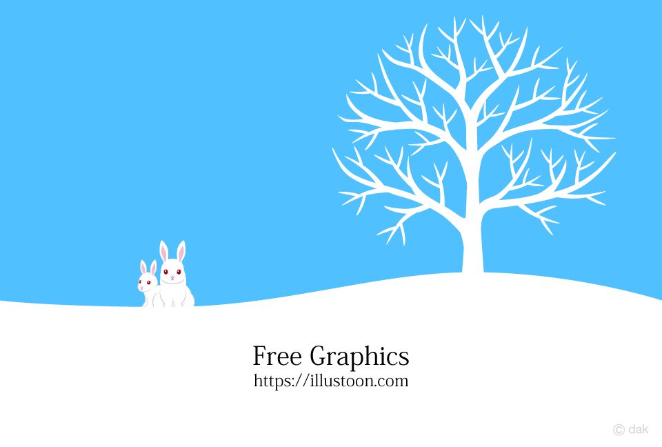 A tree and a rabbit in the snowy field Graphics