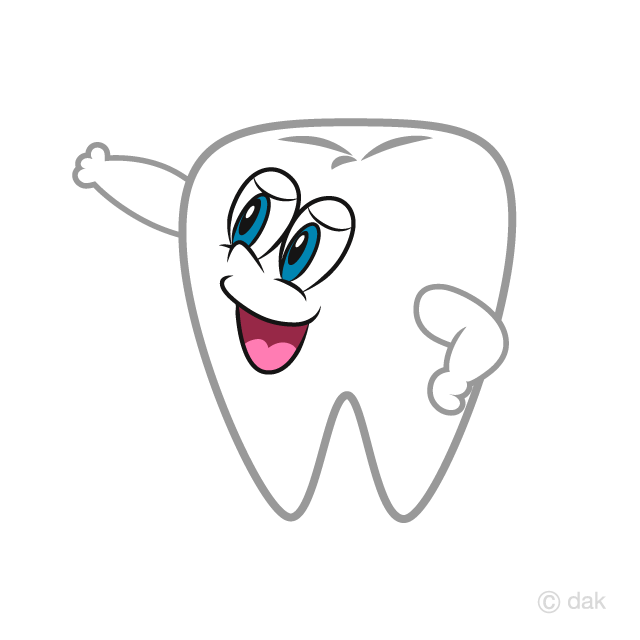 Tooth Pointing Hand Cartoon