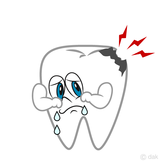 Crying Decayed Tooth Cartoon