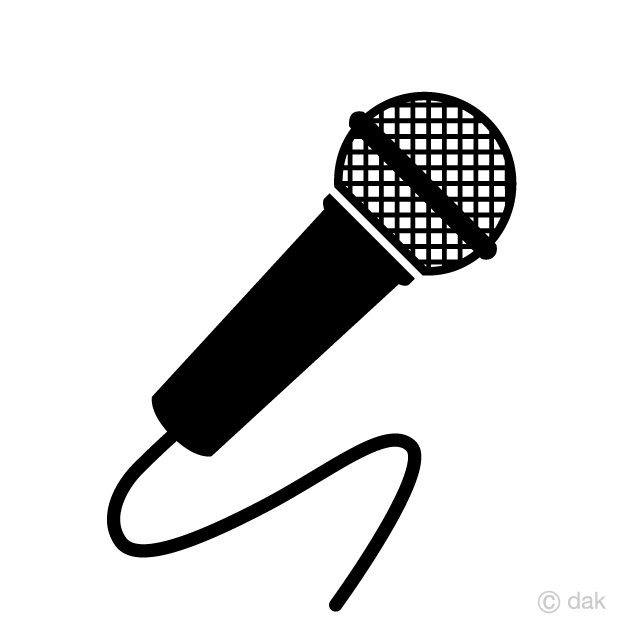 Microphone cute. Black and white clipart