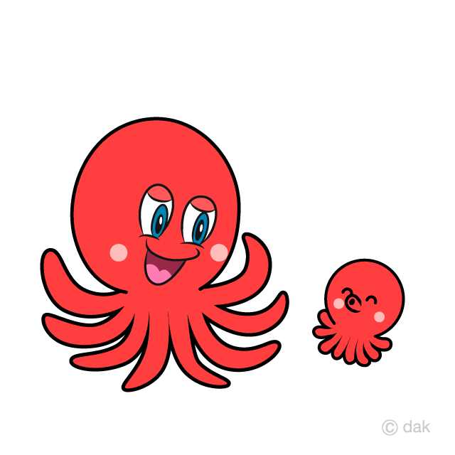Octopus Parent and Child Clipart