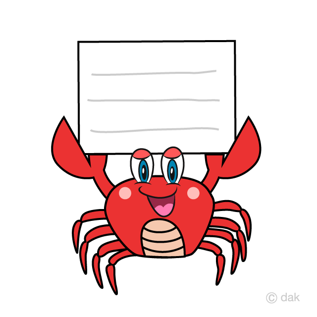 Crab with a Board Cartoon