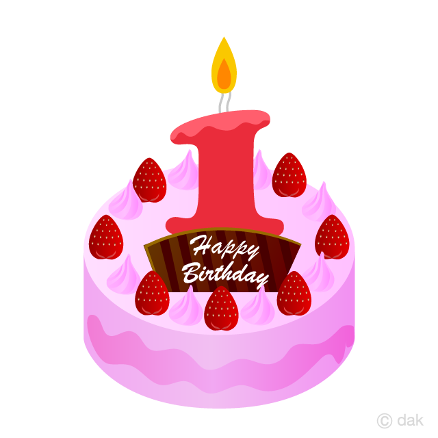 1 Years Old Candle Cake Clipart