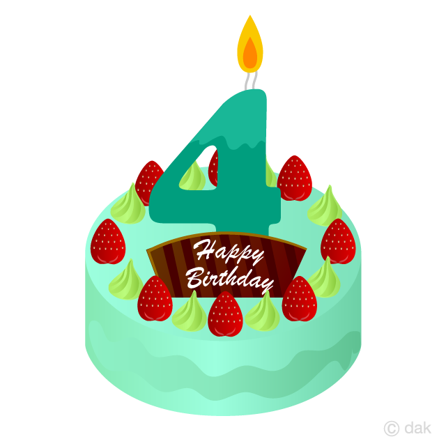 4 Years Old Candle Birthday Cake Clipart