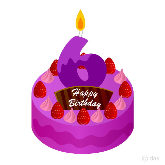 6 Years Old Candle Birthday Cake Clipart