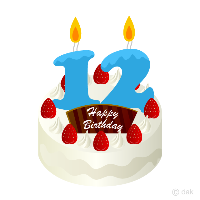 12 Years Old Candle Birthday Cake Clipart