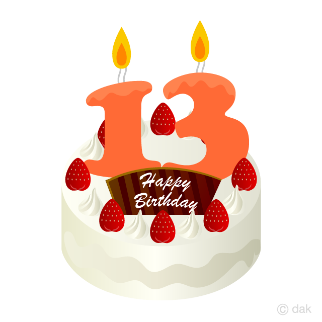 13 Years Old Candle Birthday Cake Clipart Picture For Free Download