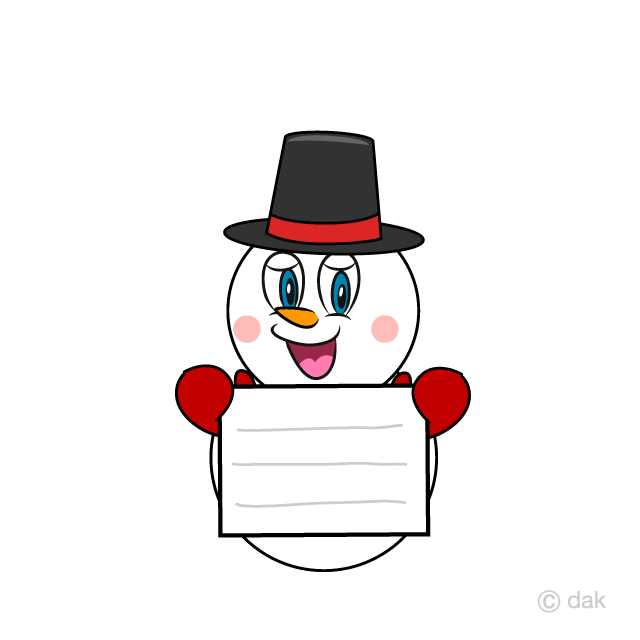 Snowman with Board Cartoon