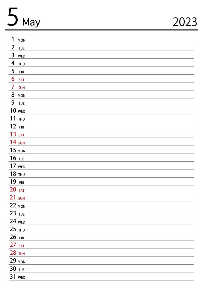 May 2019 Schedule Calendar Free Picture|Illustoon
