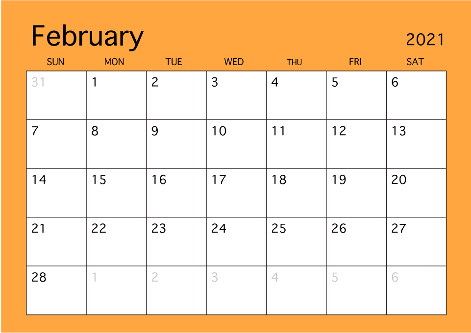 February 2019 Simple Color Calendar