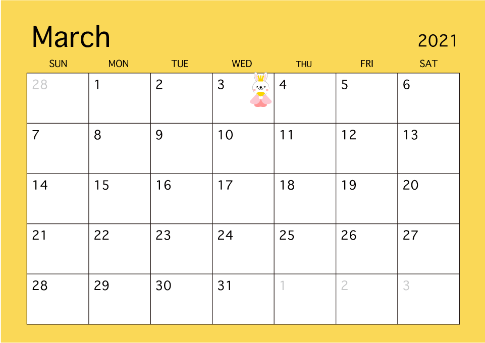 March 2019 Simple Color Calendar Free Picture Illustoon