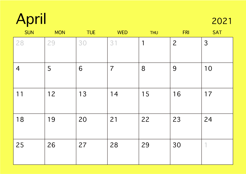 April 2019 Simple Color Calendar