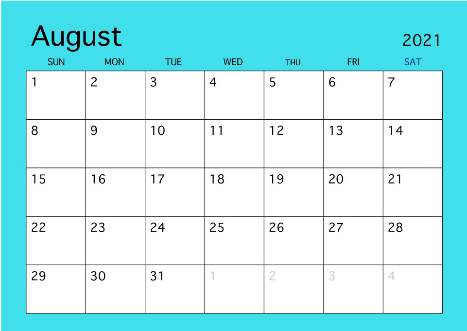 August 2019 Simple Color Calendar