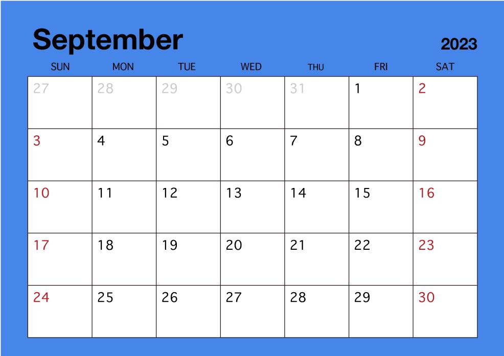 Calendario Dibujo Septiembre.Calendario Simple De Septiembre De 2019 Gratis Dibujos