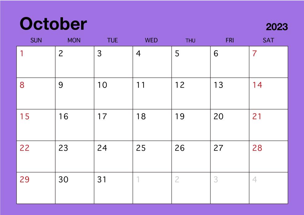 October Calendar 2019.October 2019 Simple Color Calendar Free Picture Illustoon