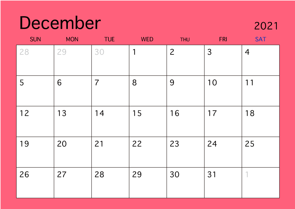 Calendario 1926.Calendario De Color Simple De Diciembre De 2019 Gratis