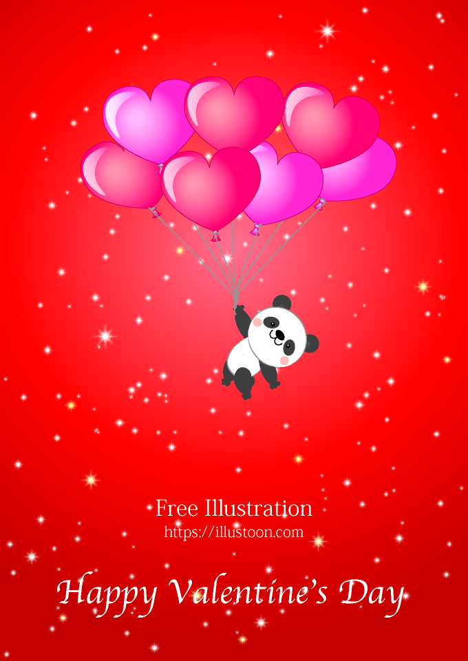 Panda Flying Valentines Day