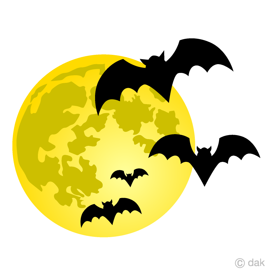 Full Moon and Bats Clipart