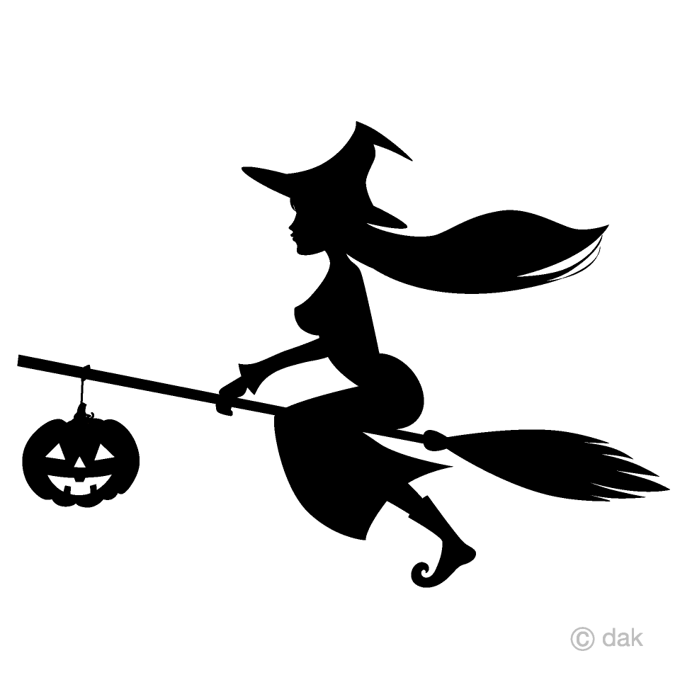 Witch and Pumpkin Silhouette Clipart