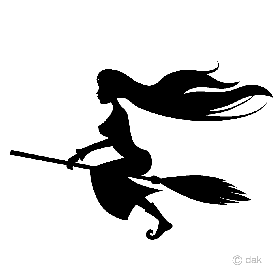 Flying Long Hair Witch Clipart