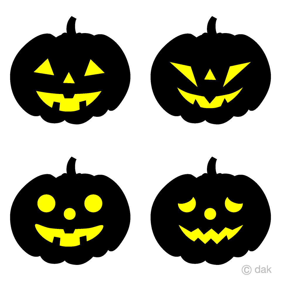 Four kinds of Glowing Pumpkin Clipart