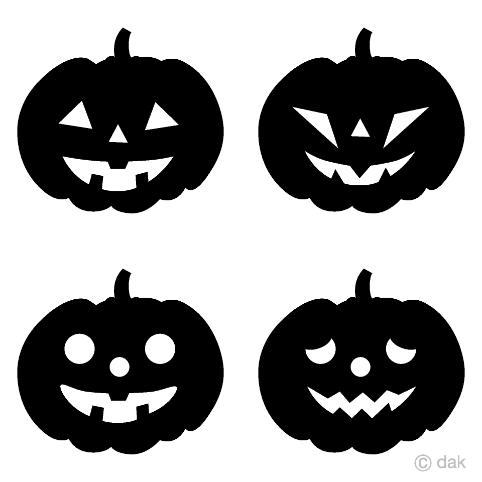Four kinds of Silhouette pumpkin Clipart