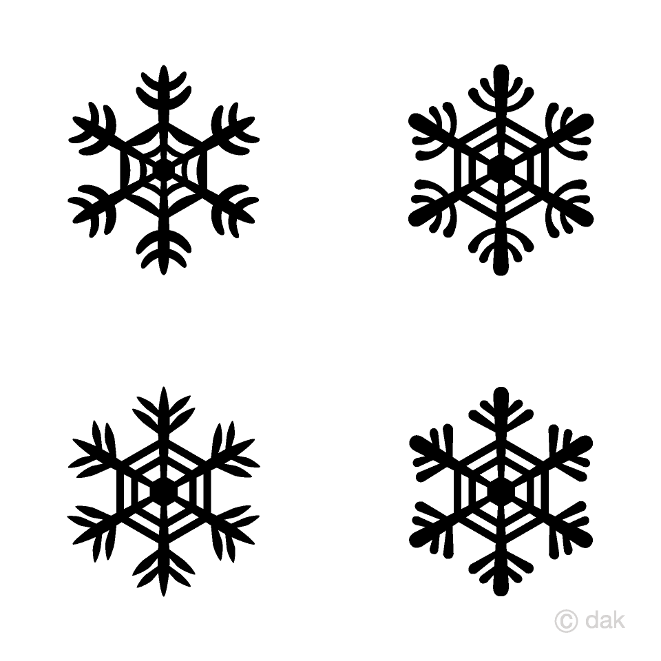 4 cute Black Snowflakes Clipart