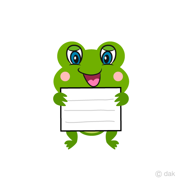 Cute Frog with Board Cartoon