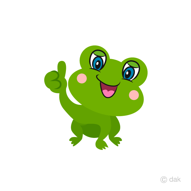 Cute Frog Thumbs up Cartoon