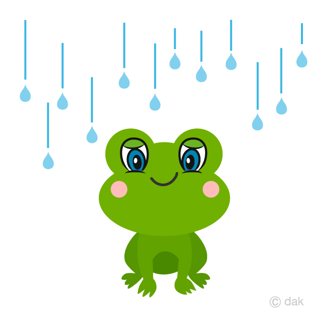 Cute Frog in the Rain Cartoon