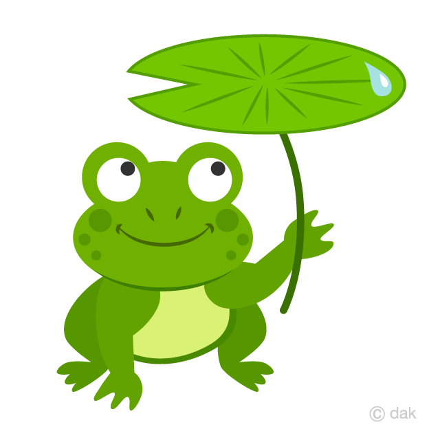 Frog with Leaf Umbrella Clipart