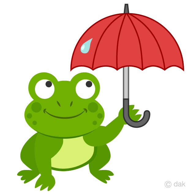 Frog with Umbrella Clipart