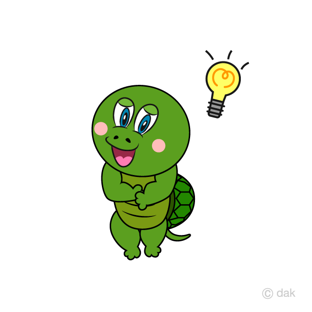 Turtle Coming up with Idea Cartoon