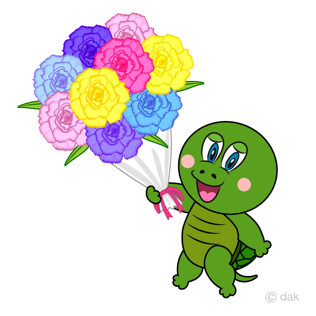 Turtle with a Flower Bouquet Cartoon