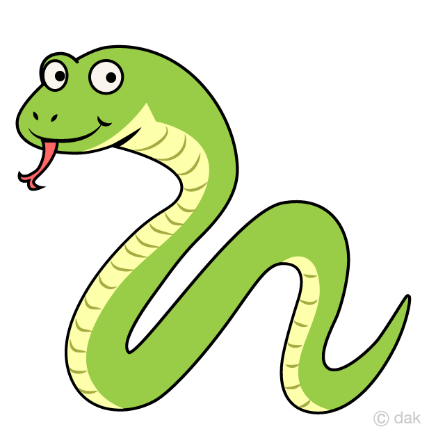 Squiggly Green Snake Cartoon
