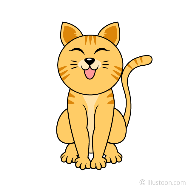 Tiger Cat Laughing Clipart