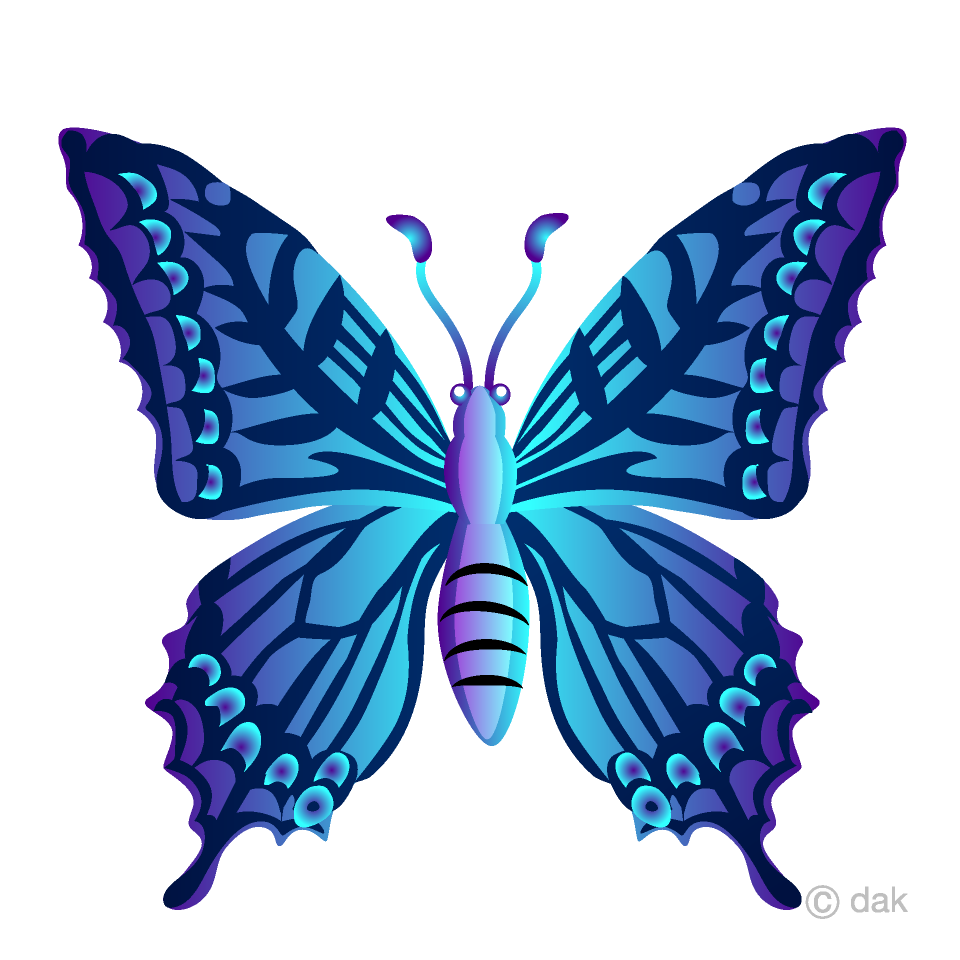 Blue Colorful Butterfly Clipart