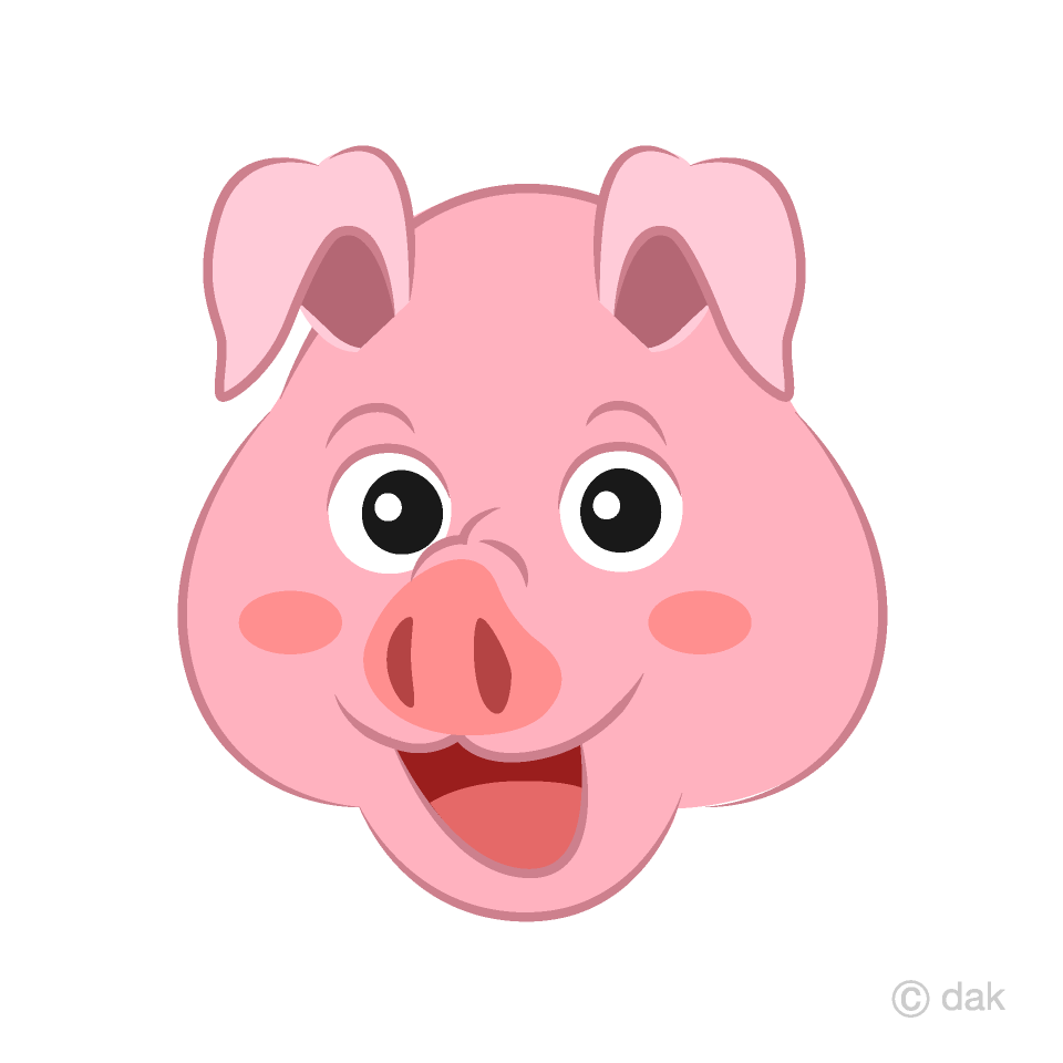 Pink Pig Face Cartoon