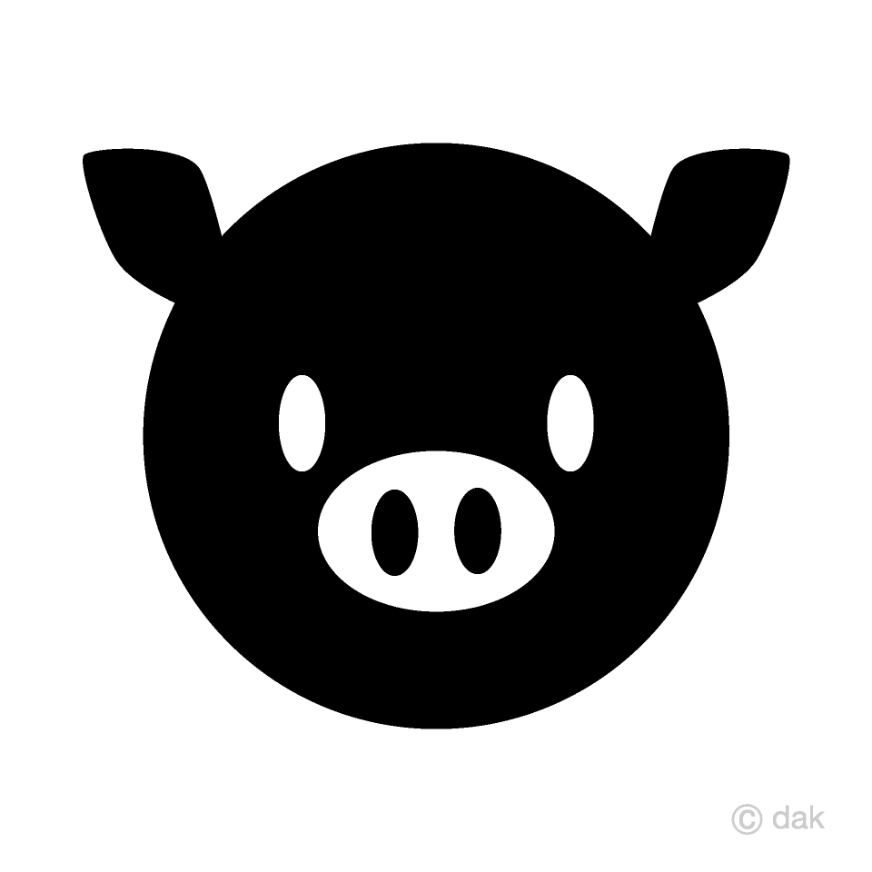 Black and White Pig Face Symbol