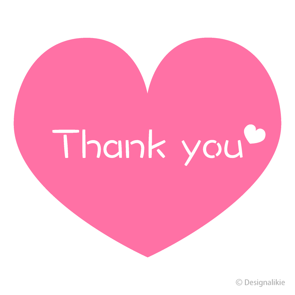 Pink Heart Thank You Clipart