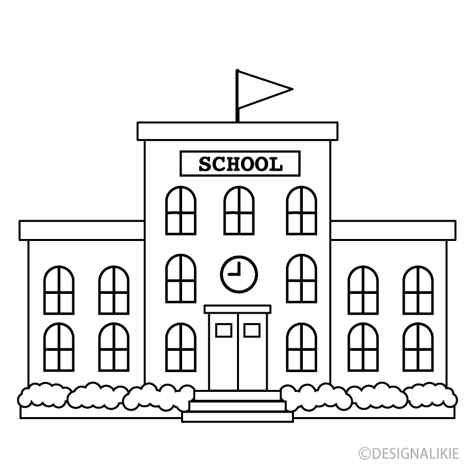 Black And White School Building Free Png Image Illustoon