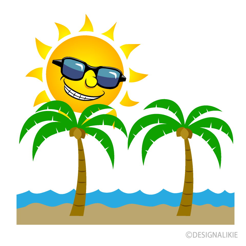 Sun and Palm Trees Cartoon