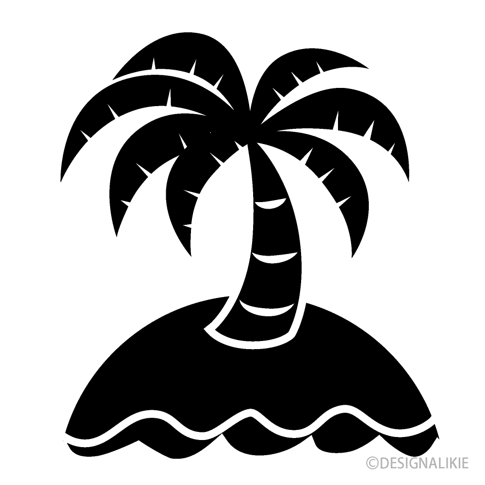 Island Palm Tree Black and White