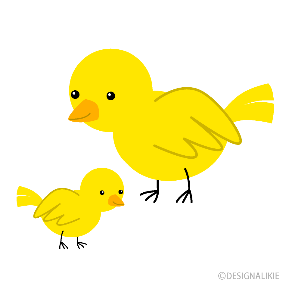 Yellow Bird Parent and Child Clipart