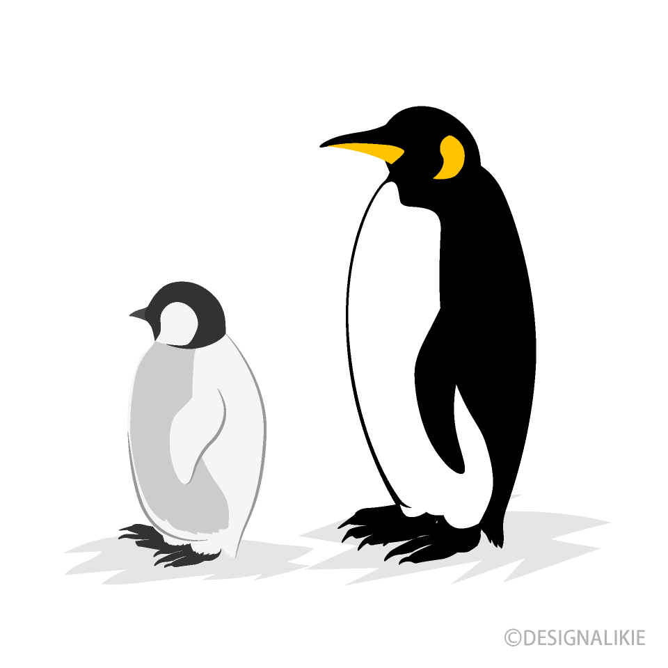 Parent and Child Penguins Clipart
